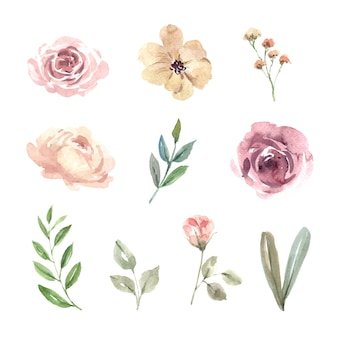 Elemento de diseño de acuarela de boda de flores