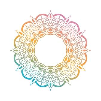 Elemento de diseño de arte de línea mandala. mandala de marco de vector en vibrantes colores azul, naranja y rosa. mandala redondeada con motivos florales.