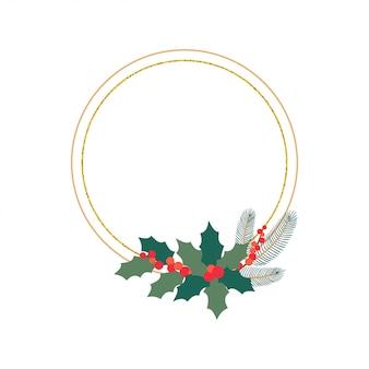 Elemento de diseño de círculo festivo botánico de navidad con flores y hojas de invierno