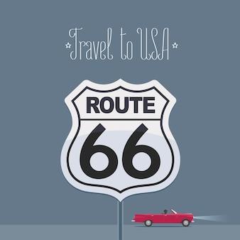 Elemento de diseño con un coche y una famosa carretera estadounidense 66 para viajar al concepto de américa