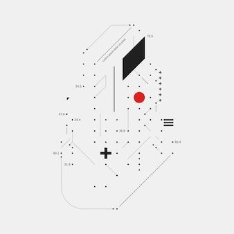 Elemento de diseño complejo en estilo glitch sobre fondo blanco.