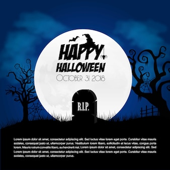 Elemento de diseño creativo feliz halloween con vector de tipografía