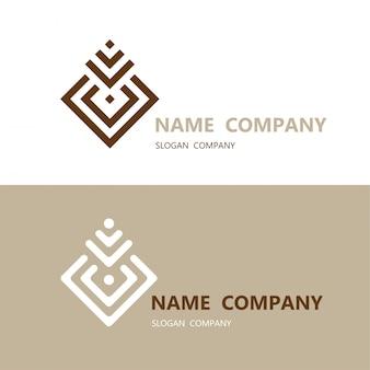 Elemento de diseño cuadrado geométrico abstracto con logotipo de plantilla de tarjeta de visita