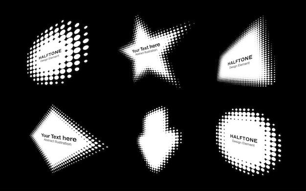 Elemento de diseño de emblema de logotipo de perspectiva de puntos de círculo de semitono blanco para tratamiento médico de tecnología