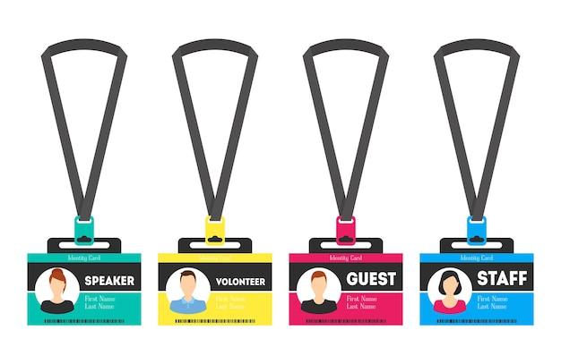 Elemento de diseño de estilo plano de insignia de plástico de color de plantilla de tarjeta de identificación para orador, invitado, personal y voluntario. ilustración vectorial