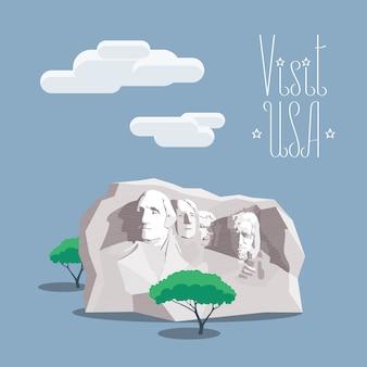 Elemento de diseño con el famoso monumento retrato de presidentes estadounidenses en el cartel de la montaña rushmore