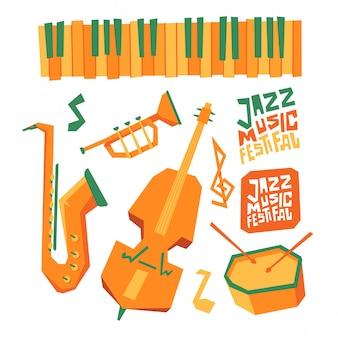 Elemento de diseño del festival de música de jazz.