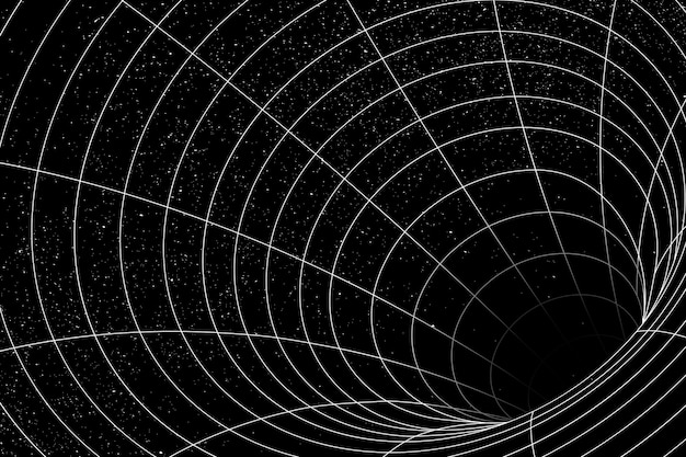 Elemento de diseño de ilusión de agujero de gusano de cuadrícula 3d