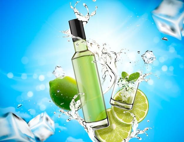 Elemento de diseño de mojito refrescante con salpicaduras de líquido y cal, cubitos de hielo, fondo azul bokeh