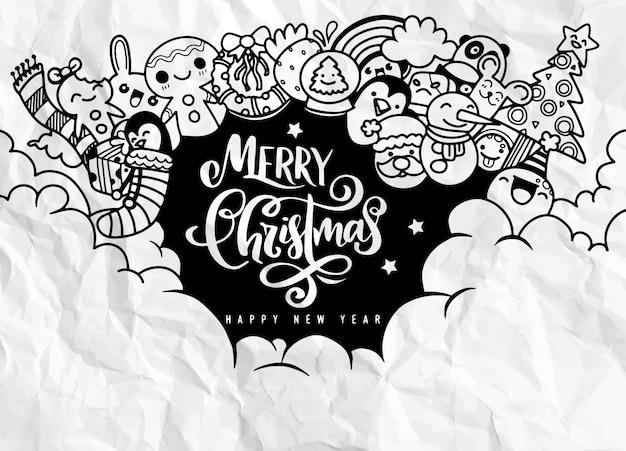 Elemento de diseño de navidad en estilo doodle con espacio de copia, feliz navidad y feliz año nuevo