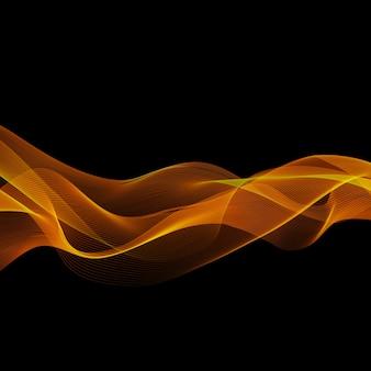 Elemento de diseño de onda de oro de color brillante abstracto sobre fondo oscuro. para diseño científico o tecnológico