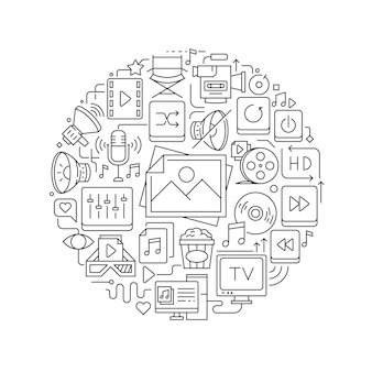 Elemento de diseño redondo con iconos multimedia.