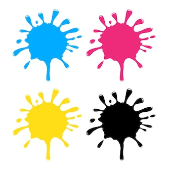 Elemento de diseño de salpicaduras de agua de color cmyk sobre fondo blanco