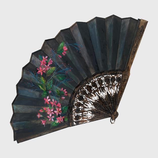 Elemento de diseño de vector de abanico de seda antiguo, remezcla de la obra de arte de ann gene buckley