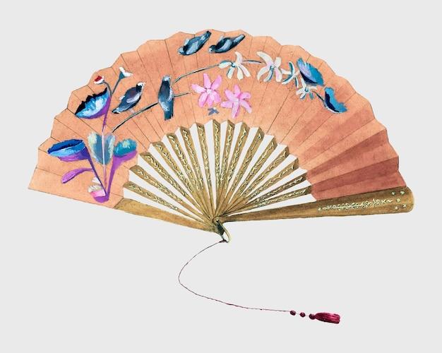 Elemento de diseño de vector de abanico de seda antiguo, remezcla de la obra de arte de bessie forman
