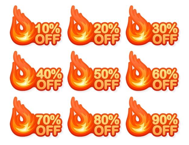 Elemento de diseño vectorial de venta caliente de fuego vector de bandera roja insignia de oferta especial