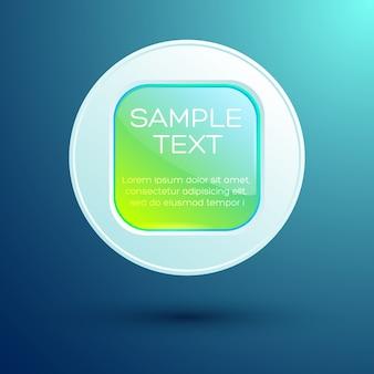 Elemento de diseño web con texto botón cuadrado redondo brillante en círculo aislado