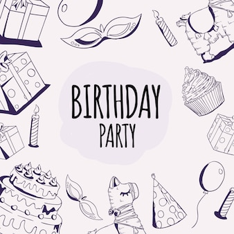 Elemento diversión fiesta cumpleaños dibujado mano ilustración vector doodle