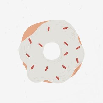Elemento de donut de espolvorear blanco vector lindo estilo dibujado a mano