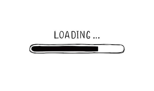 Elemento de doodle de barra de carga. estilo de dibujo de línea dibujada a mano. velocidad de descarga lenta, estado de progreso, concepto de barra de carga de internet. ilustración de vector aislado.