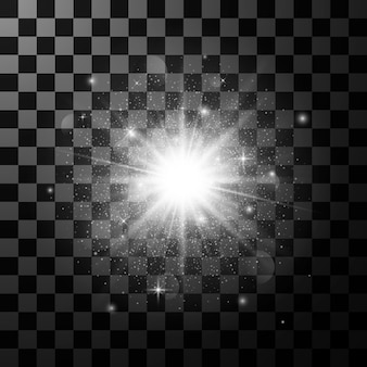 Elemento de efecto de luz resplandor. explosión de estrellas con destellos sobre fondo transparente oscuro. ilustración