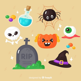 Elemento espeluznante de colección plana de halloween