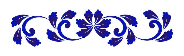Elemento de flor azul y blanco