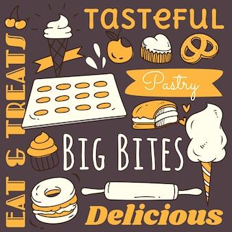 Elemento de fondo de restaurante con comida y bebida doodle