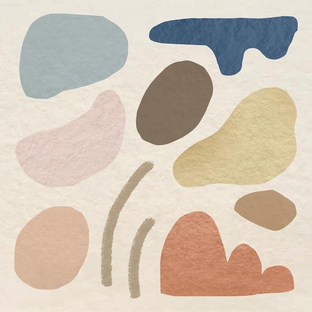 Elemento de forma abstracta en conjunto de diseño de tono tierra