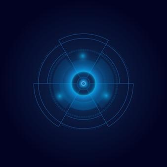 Elemento futurista de hud aislado sobre fondo oscuro. objetivo virtual abstracto. interfaz de usuario de alta tecnología. .