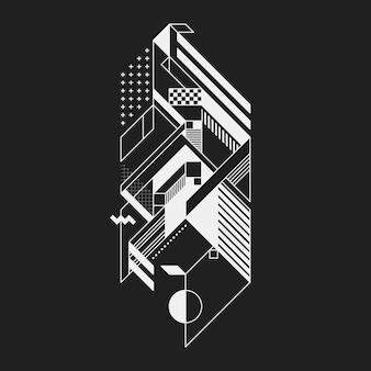 Elemento geométrico abstracto sobre fondo negro. útil para impresiones y carteles.