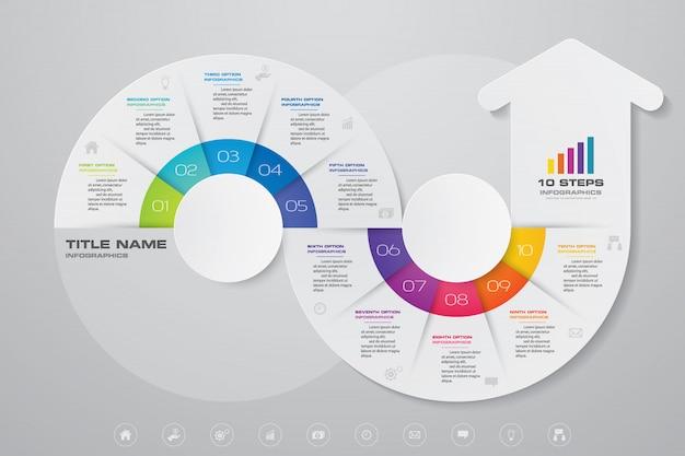 Elemento de gráfico de flecha de infografía.