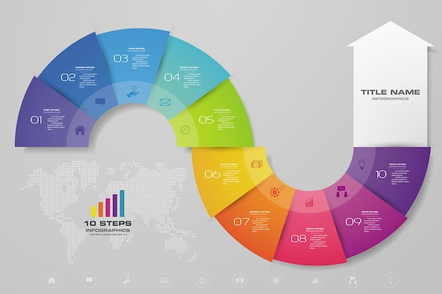 Elemento de gráfico de flecha de infografía
