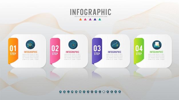 Elemento de gráfico de infografía de cuatro opciones de negocio.