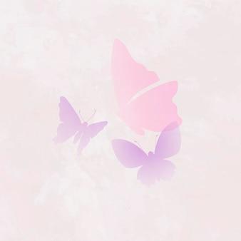 Elemento hermoso del logotipo de la mariposa, ilustración animal creativa del vector rosado