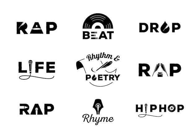 Elemento hip hop con diseño de palabra.