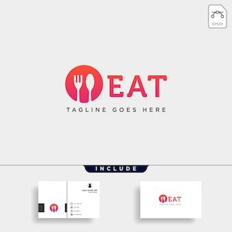 Elemento del icono del ejemplo de la plantilla del logotipo de la bifurcación de la cuchara del equipo de la comida