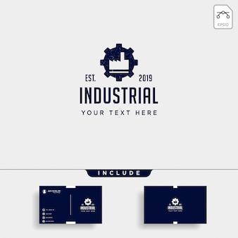 Elemento de icono de vector industrial de diseño de logotipo de fábrica de engranaje aislado