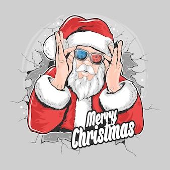 Elemento de ilustración navideña santa claus