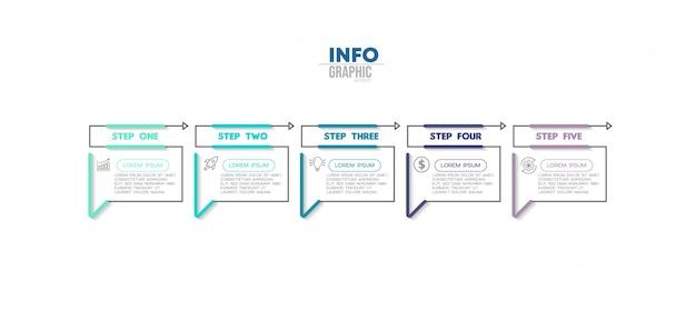 Elemento de infografía con 5 opciones o pasos. se puede utilizar para procesos, presentaciones, diagramas, diseño de flujo de trabajo, gráfico de información, diseño web.