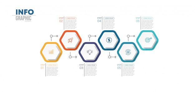 Elemento de infografía con 6 opciones o pasos. se puede utilizar para procesos, presentaciones, diagramas, diseño de flujo de trabajo, gráfico de información, diseño web.