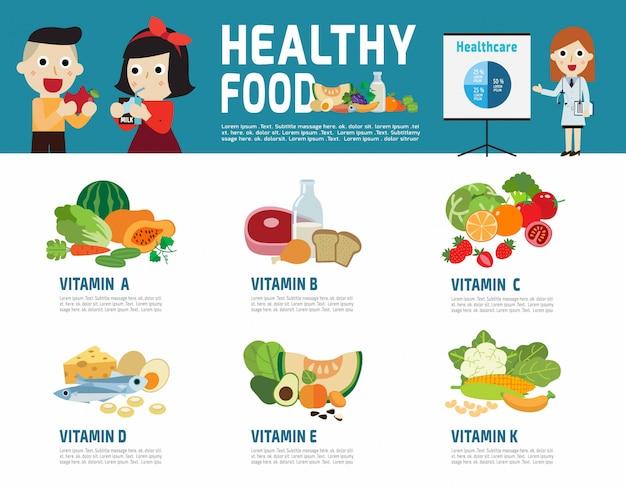 Elemento de infografía de alimentos saludables.