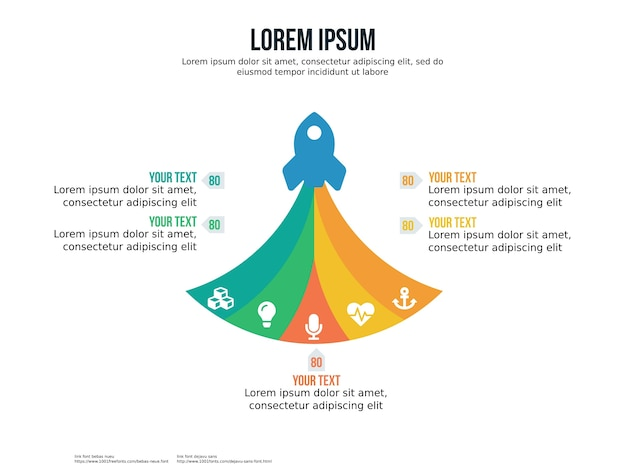 Elemento de infografía de cohete de cinco puntos y plantilla de presentación