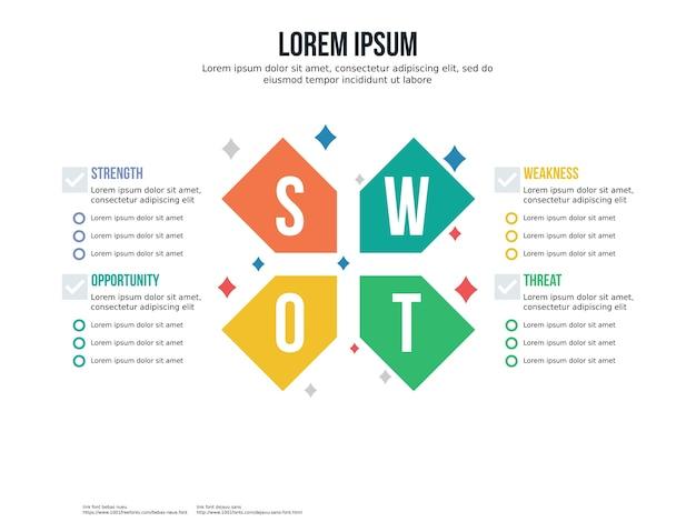 Elemento de infografía cruz swot y plantilla de presentación