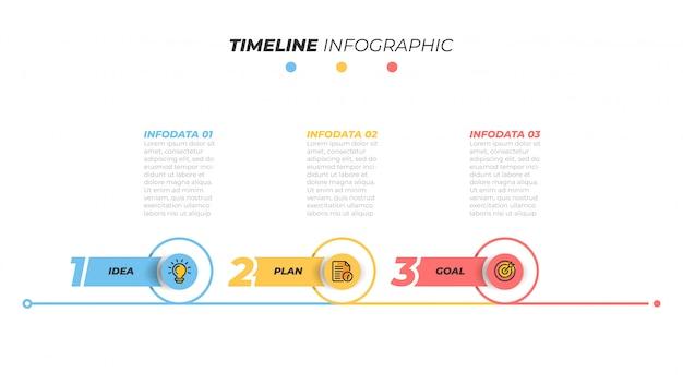 Elemento de infografía delgada línea con icono de marketing y paso, opción. ilustración.