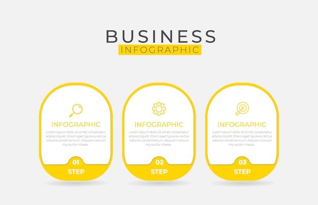 Elemento de infografía empresarial con 3 opciones, pasos, diseño de plantilla de número