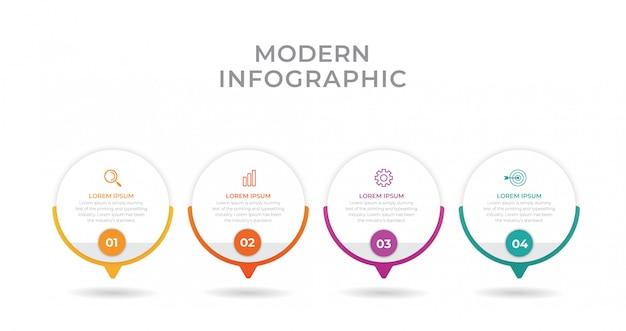 Elemento de infografía empresarial con 4 opciones, pasos, diseño de plantilla de número
