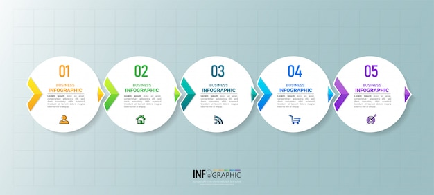 Elemento de infografía empresarial con 5 opciones.