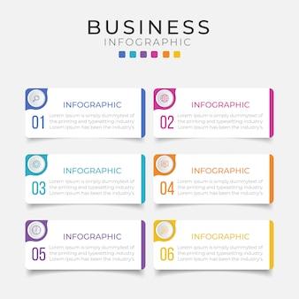 Elemento de infografía empresarial con 6 opciones, pasos, diseño de plantilla numérica