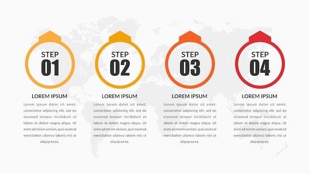Elemento de infografía empresarial corporativa de cuatro pasos premium